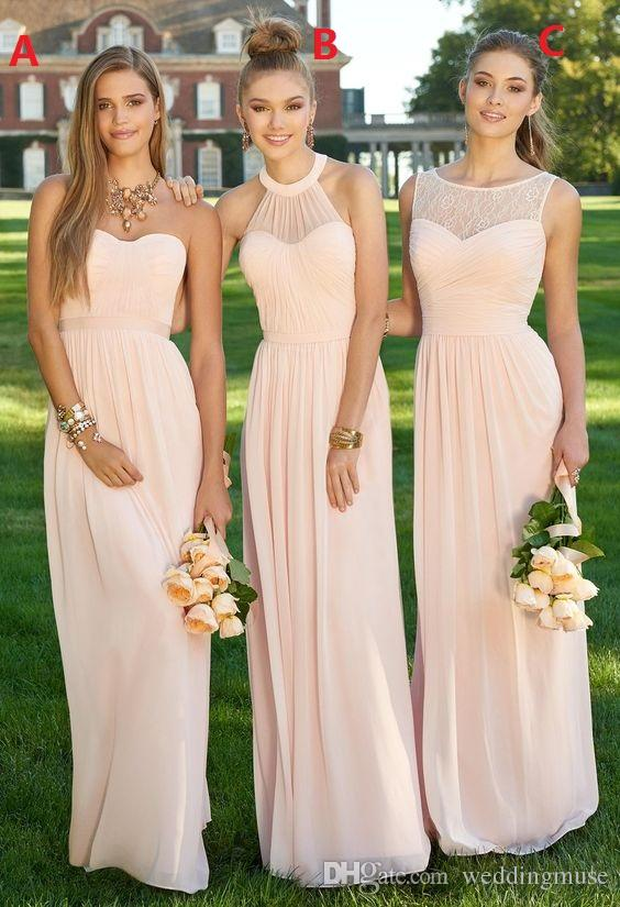 Peachy Pink Long Bridesmaid Dresses A Line Different Style Under 60 Custom Made Wedding Guest Dress