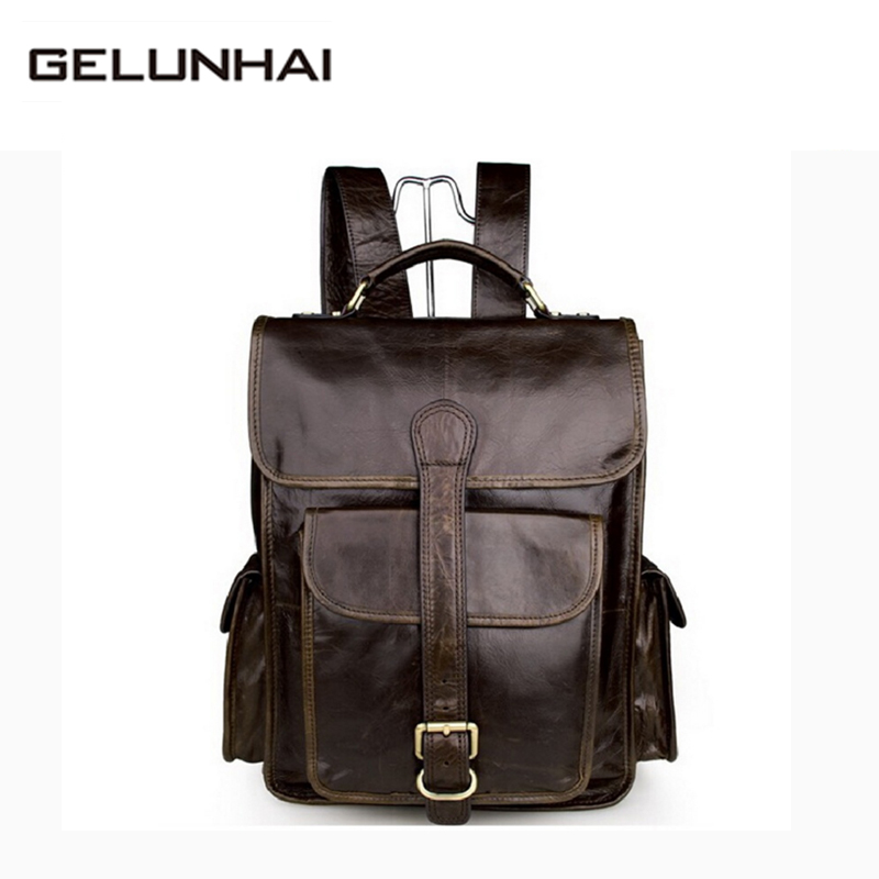 2017 Mochila Escolar Famous Brand Men Backpack Genuine Leather Laptop Bag New Designer First Layer Cowhide Casual Free Shipping famous brand luxury men backpack genuine leather vintage mochila black men sport double shoulder bag men s backpacks bp00042