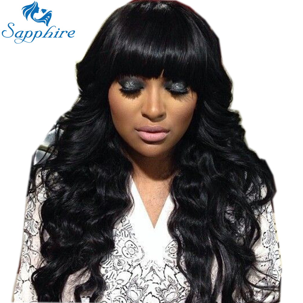 Sapphire Glueless Human Hair Wigs With Bangs For Black Women Remy Brazilian Human Hair Lace Front Wig Pre Plucked Bang Good Taste Human Hair Lace Wigs Lace Wigs