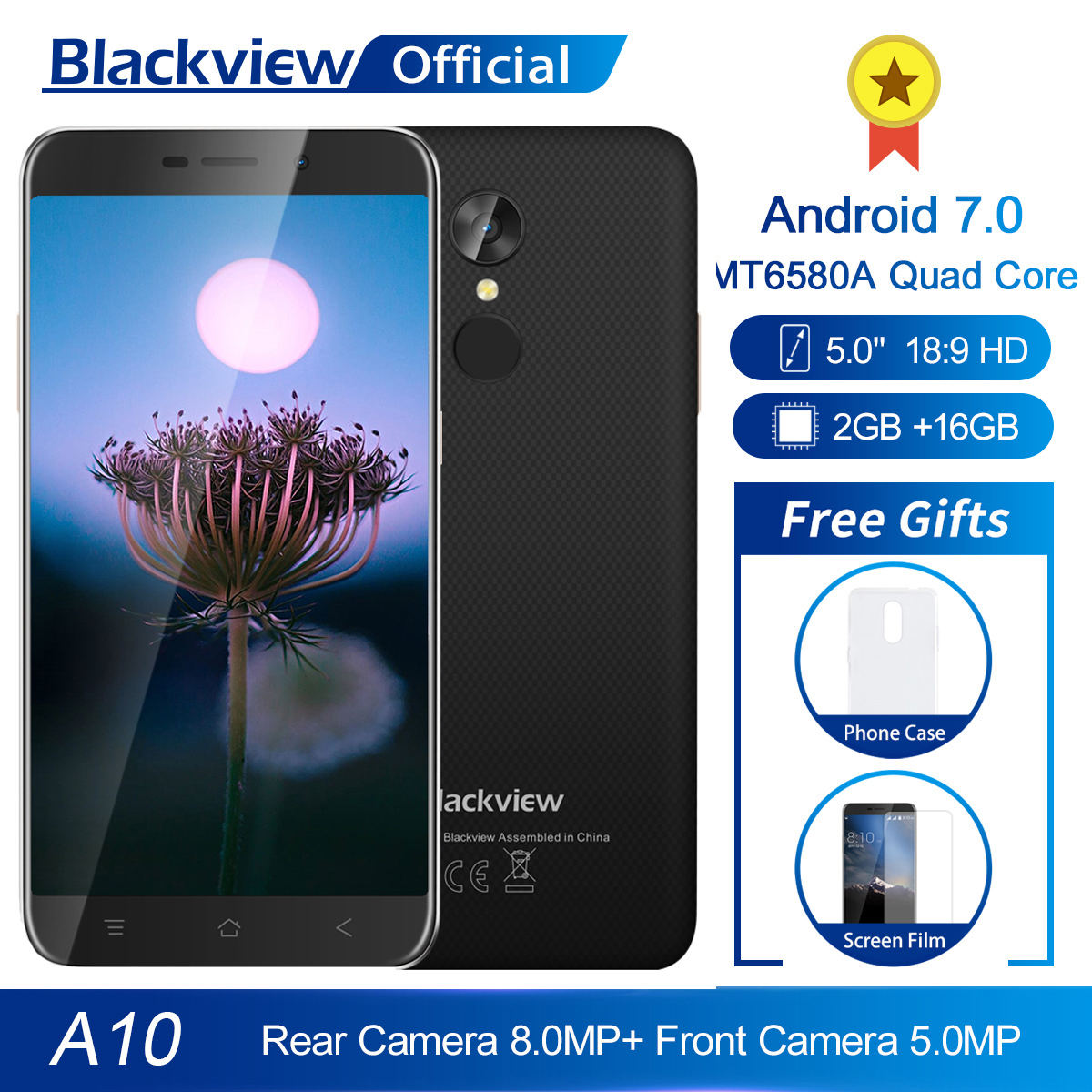 Blackview A10 MT6580A Quad Core 2GB RAM 16GB ROM 5inch HD 3G Smartphone Android 7.0 Fingerprint 8.0MP Rear Camera Mobile Phone