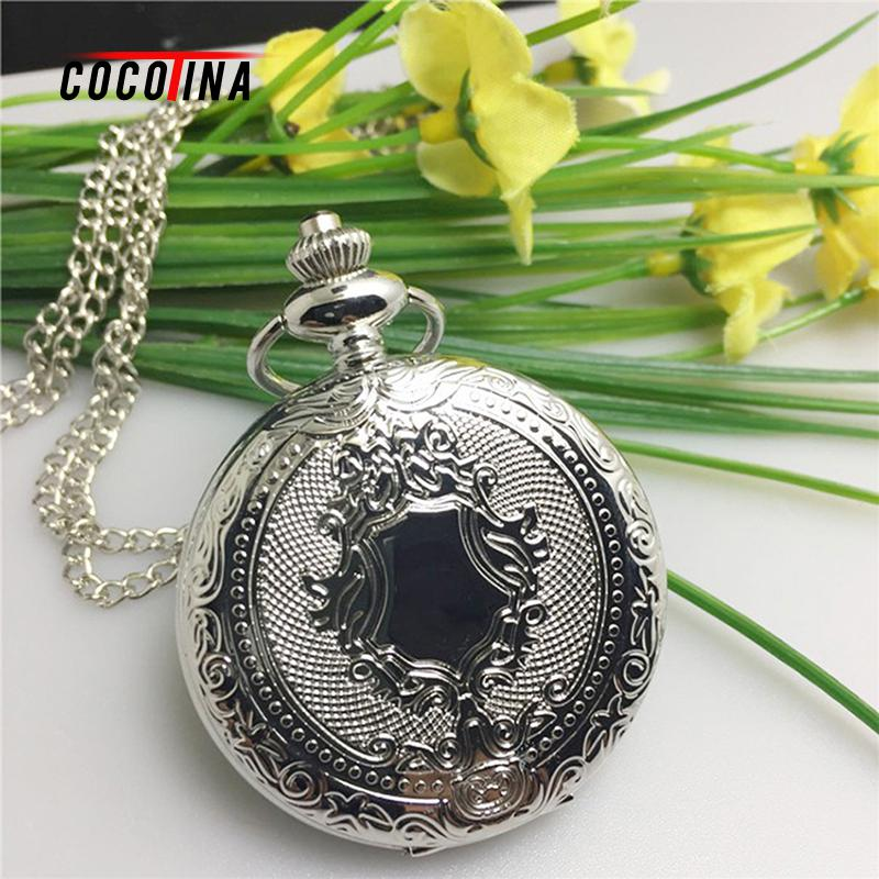 COCOTINA New Arrival Silver Smooth Quartz Pocket Watch With Short Chain Best Gift To Men Women LSB01144 unique smooth case pocket watch mechanical automatic watches with pendant chain necklace men women gift relogio de bolso
