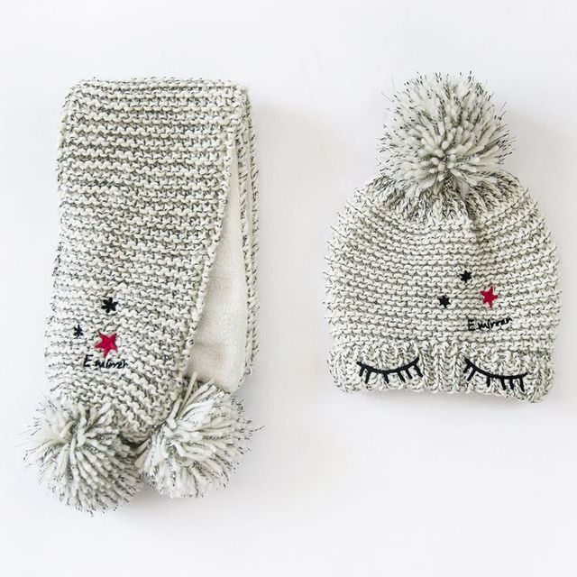 New 2016 Baby Thick Winter Hats,Fashion Ins Hot Eyes Baby Boy/Girl Knitted Hats Newborn Baby Beanies+Scarf Twinset,Suit for 1-4T