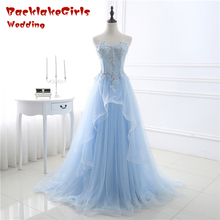 Bridal Elegant Fairy Prom Dresses Sweep Train Evening Dress