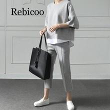Rebicoo 2019 Autumn Casual O-Neck Fake Two Pieces Top 3/4-Length Pants Two-piece Sets Loose Splits Sleeve Cotton Suits
