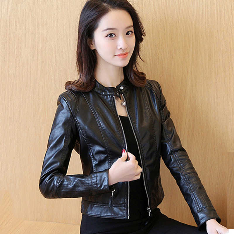 Classical Women Autumn Leather Jacket Solid Color Black Female Casual Faux Leather Coat Outwear O-neck Jackets