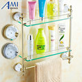63GD Series Golden Polished Bathroom Shelves With Diamond Towel Holder Towel Bar& Hook With Glass Shelf Free Shipping
