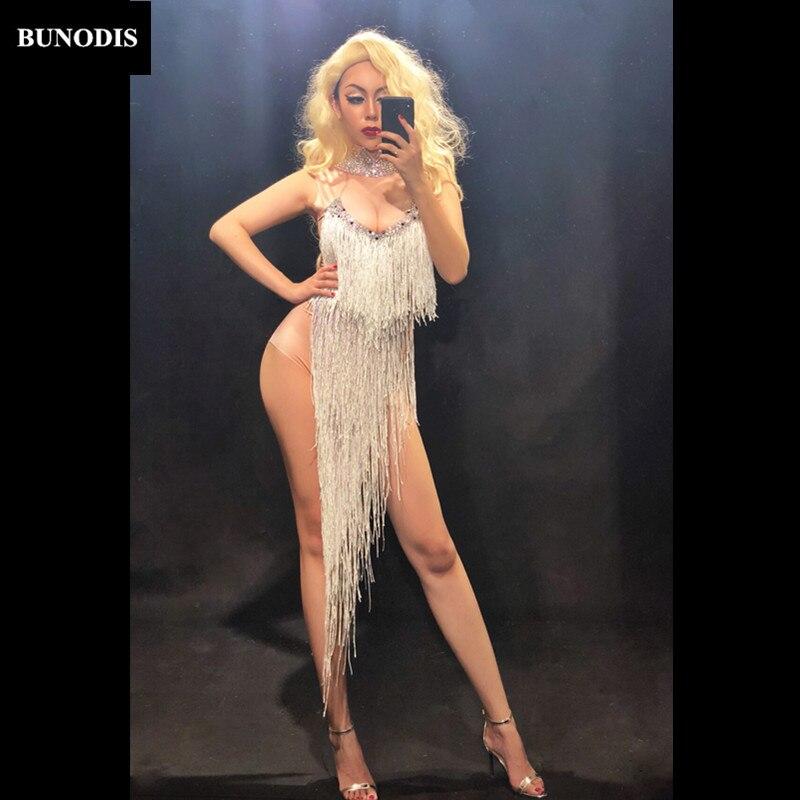 Femmes Bu293 Argent Partie Sans Manches Discothèque Porter Sexy Salopette Cristaux Danseur Long Body Mousseux Chanteur Gland Stage UqLSzMVpjG