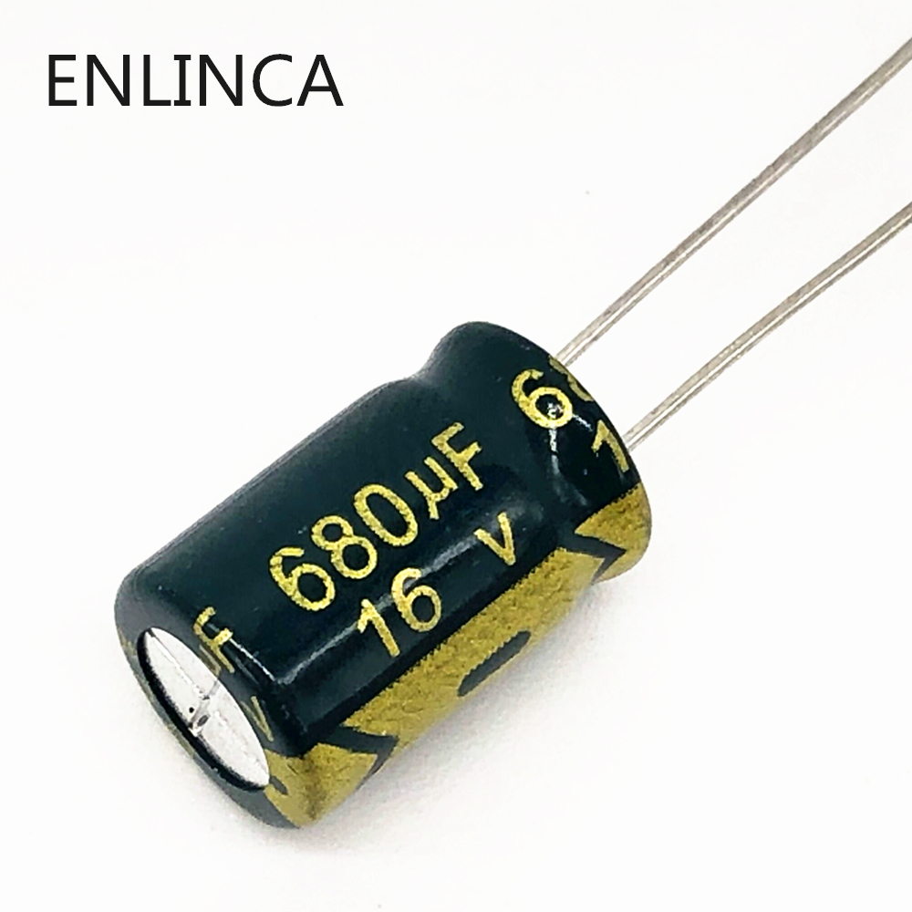 100pcs/lot P33 680uf 16V Low ESR/Impedance High Frequency Aluminum Electrolytic Capacitor Size 8*12 16V 680uf 20%