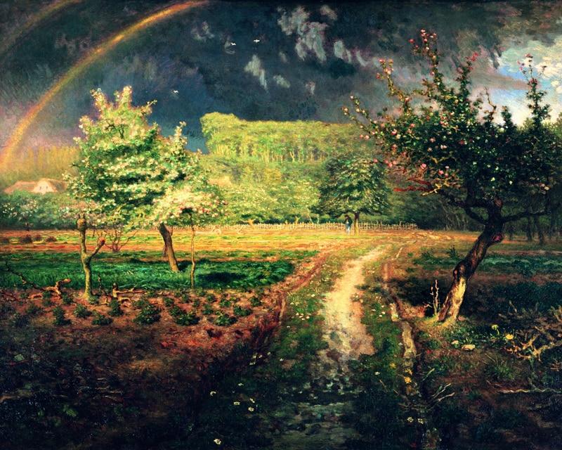landscape canvas prints giant posters realisim picture home decor art Spring at Barbizon 1868-73  By Jean-Francois Millet