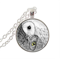 Yin Yang Owl Necklace Bird Jewelry Nature Glass Cabochon Pendant Animal Choker Neckless Women Jewellery Silver