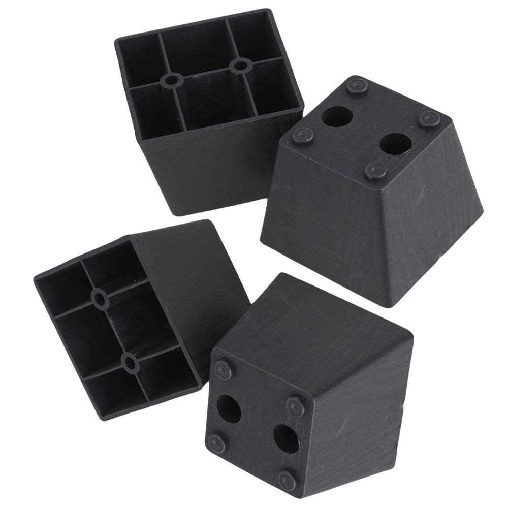 60 X 75 X 55mm  Black Plastic Trapezoid Sofa Couch Furniture Legs Feet Pack Of 4