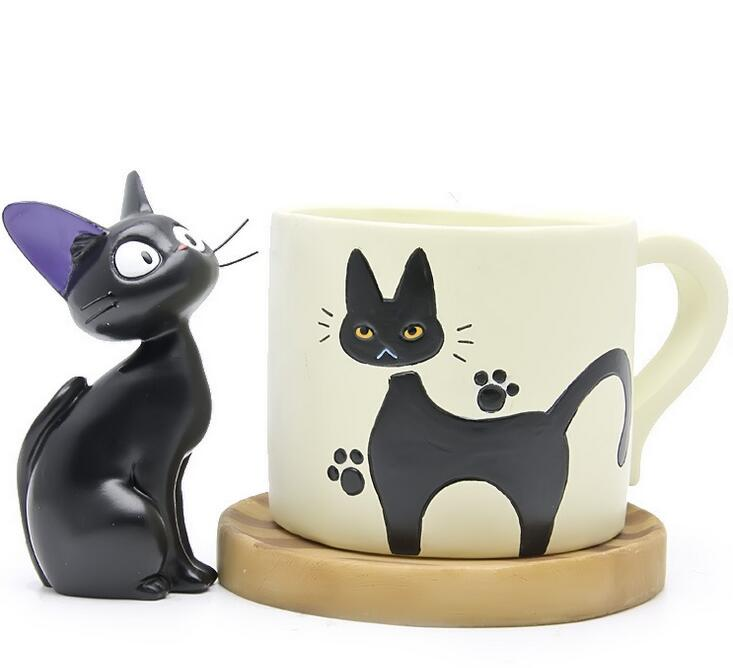 Miyazaki Anime Kiki's Delivery Service Kiki Cat Figure Toys Kiki Cat Cup Resin Action Figure Collection Model Toy for Home Decor animation garage kid hayao miyazaki animation model toys artbox action figure pvc dolls kiki s delivery service model kt038