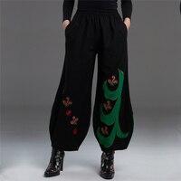 Xu hướng quốc gia phong cách trung quốc bông quần linen hậu cung cho phụ nữ thêu cây ra hoa đàn hồi eo quần nữ tcy0701