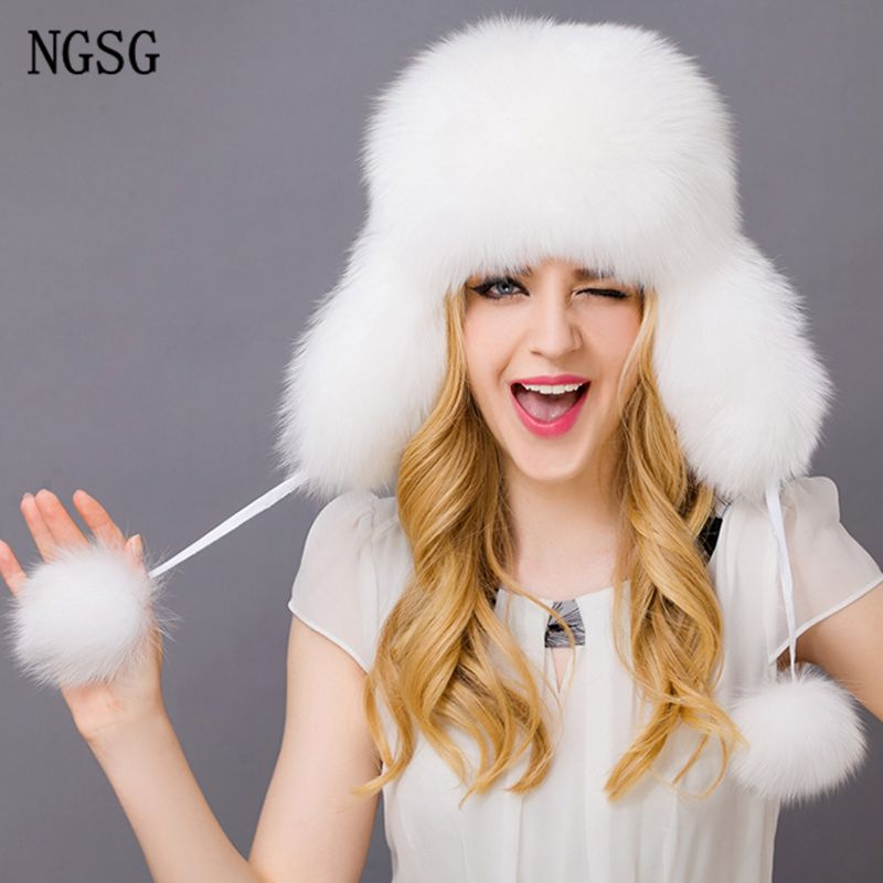 Russian winter real fur bomber hats for women ladies genuine leather raccoon silver fox pompom with earmuff aviation earflap cap