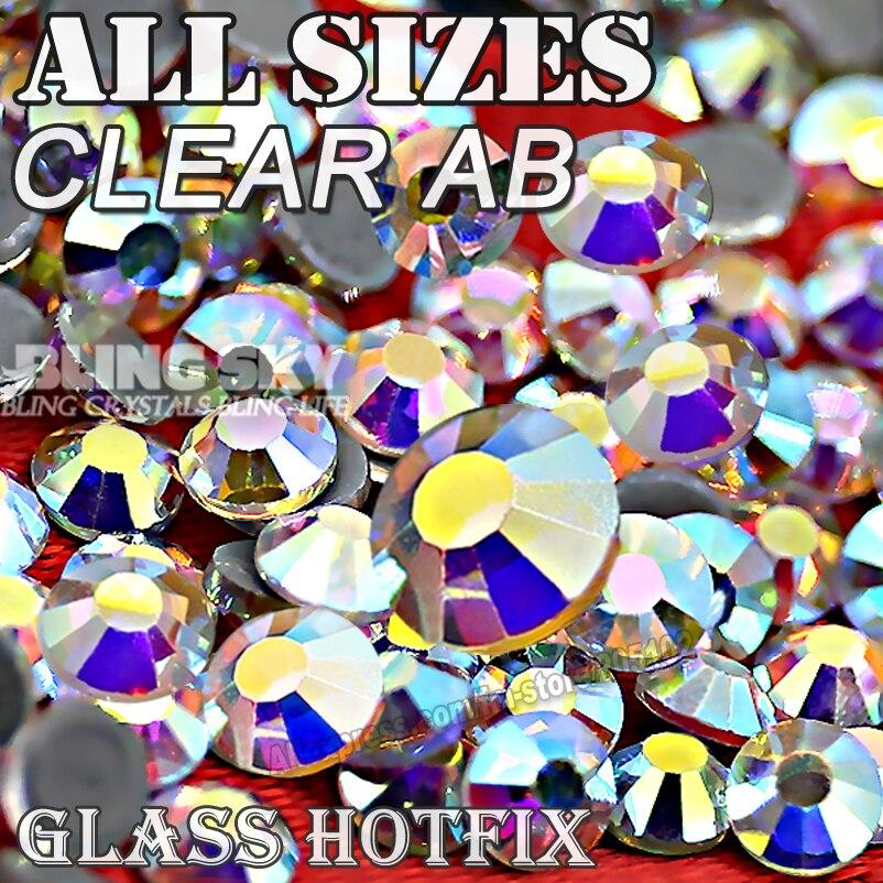 2028 AAA QUALIDADE CLARO AB SS3 SS4 SS5 SS6 SS10 SS20 SS30 Hot Fix Strass Glitters Cristais strass pedra para a moda DIY