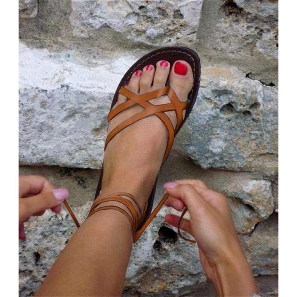 Brillante Independientemente Bergantín  Sandalias Retro de verano para playa de mujer, sandalias romanas, sandalias  tipo gladiador de moda para mujer, zapatos planos para mujer|Sandalias de  mujer| - AliExpress