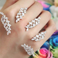 High-end Luxury Full Crystal Zircon Leaf palm bangle Rhinestones Palm Arm Cuff Jewelry for Women Party Jewelry