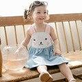 Novo! ombro roupas 2016 roupas de bebê verão das crianças bonito rubbit Coelho vestido de bebe macacão bonito do miúdo do bebê vestido