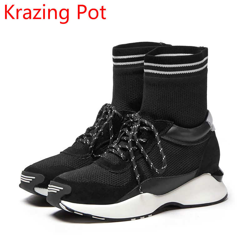 Superstar Genuine Leather Flat with Knitting Gladiator Winter Boots Lace Up Round Toe Fashion Elegant Women Mid-calf Boots L30 front lace up casual ankle boots autumn vintage brown new booties flat genuine leather suede shoes round toe fall female fashion