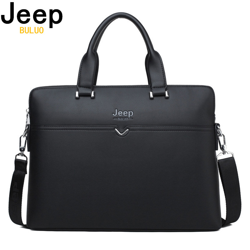 JEEP BULUO Famous Brand Business Briefcase Bag Cow Split Leather High Quality Men Bags For 14