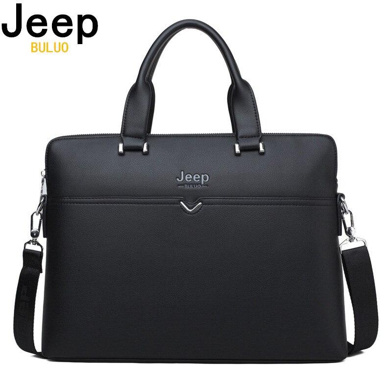 Herrentaschen Einfach Jeep Buluo Berühmte Marke Business Aktentasche Tasche Kuh Split Leder Hohe Qualität Männer Taschen Für 14 laptop A4 Männlichen Hand Tasche 1373-2 QualitäTswaren