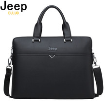 JEEP BULUO Famous Brand Business Briefcase Bag Cow Split Leather High Quality