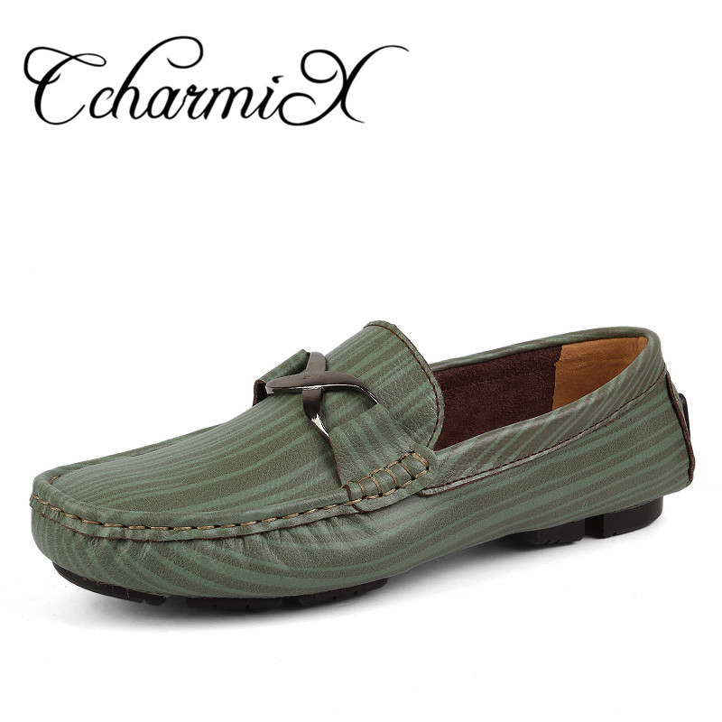 CcharmiX Men Casual Shoes Big Size 38-50 Striped Slip On Mens Leather Boat Shoes Metal Round Toe Green Men Luxury Brand Loafers branded men s penny loafes casual men s full grain leather emboss crocodile boat shoes slip on breathable moccasin driving shoes