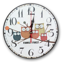 European Pastoral Five Owls Large digital Wall Clock coloured drawing or pattern Electronic Clocks
