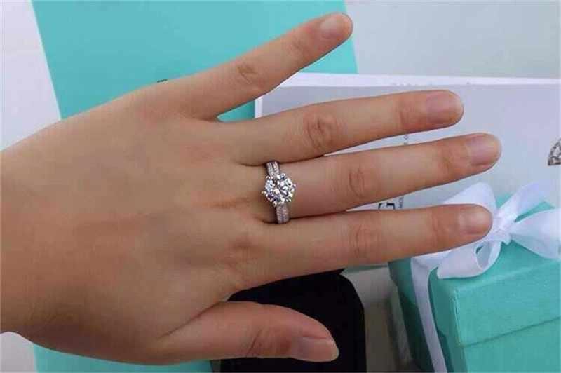 สูญเสียโปรโมชั่นเงิน 100% แท้ 925 แหวนเงิน 8 มม. 3 กะรัต SONA เพชรสำหรับผู้หญิง sz 5-10