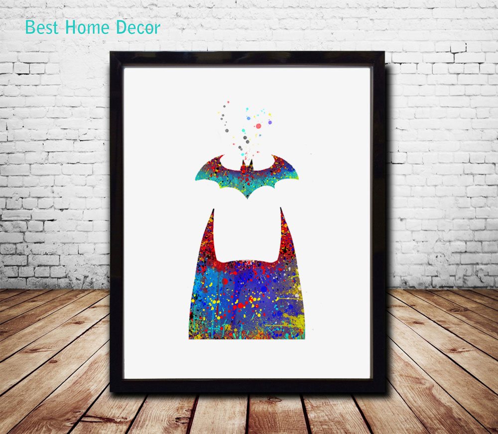 Bat Poster Fine Art Paper Watercolor Painting Batman Wall Home Decor Hanging Without Framed Ap016 In Calligraphy From Garden On