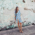 Women love silk flocking floral dress ladies open back sexy spaghetti  strap high slide summer blue beach holiday dress