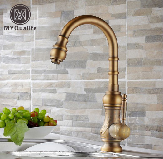 Free Shipping Deck Mounted Kitchen Faucet Bathroom Brass Antique Mixer Single Lever Vegetable Bowl Tap Swivel