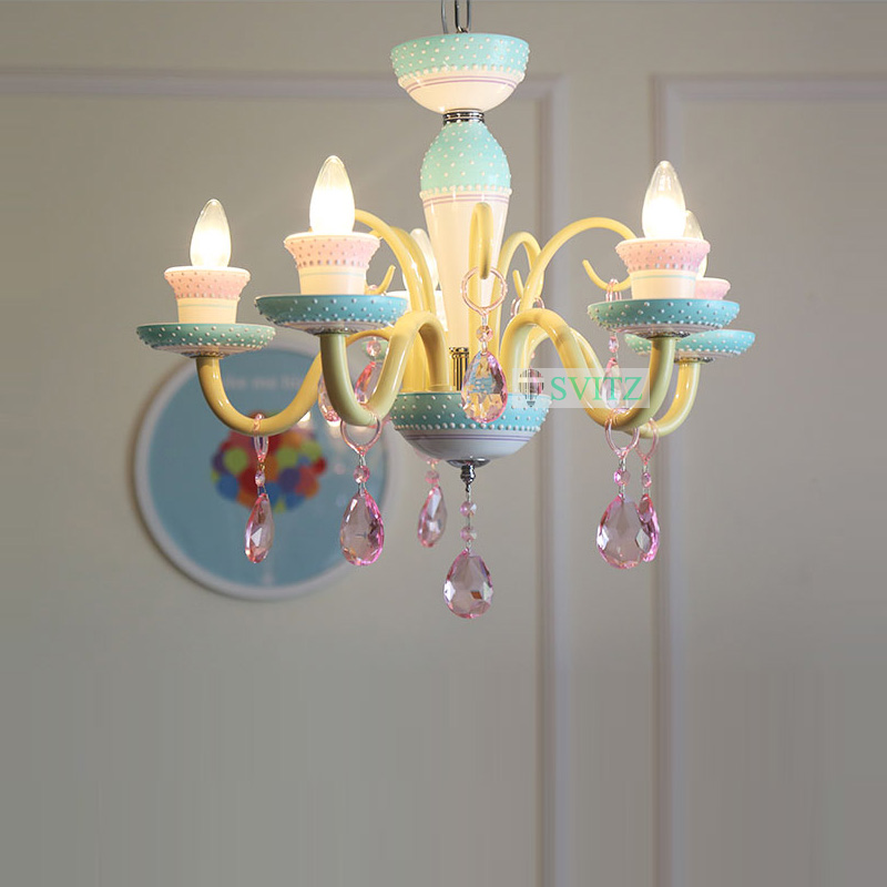 Candy Color Matching American Candles European Childrens light Childrens Room Girls Princesses Bedroom Chandeliers Led Lamps