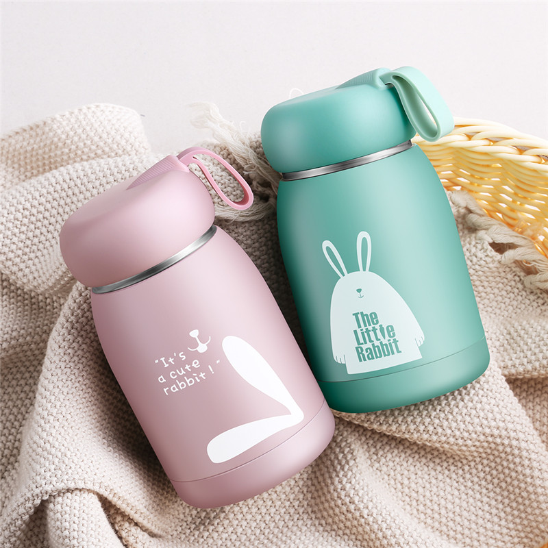 Kids Baby Feeding Bottle Cute Cartoon Print Thermos Cup 304 Stainless Steel Keep Water Hot Suitable For Kids Children School Use