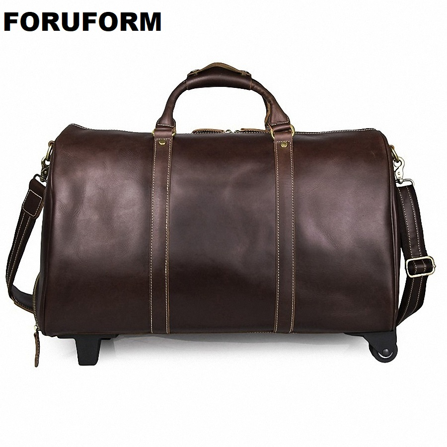 Draw-bar Box Vintage Genuine Leather Cowhide Large Capacity Travel Luggage Men Duffle Bags Weekend Bag Large Tote HandbagLI-2107 crazy horse leather men travel bags luggage cowhide tote handbag genuine leather duffle bag male vintage luggage