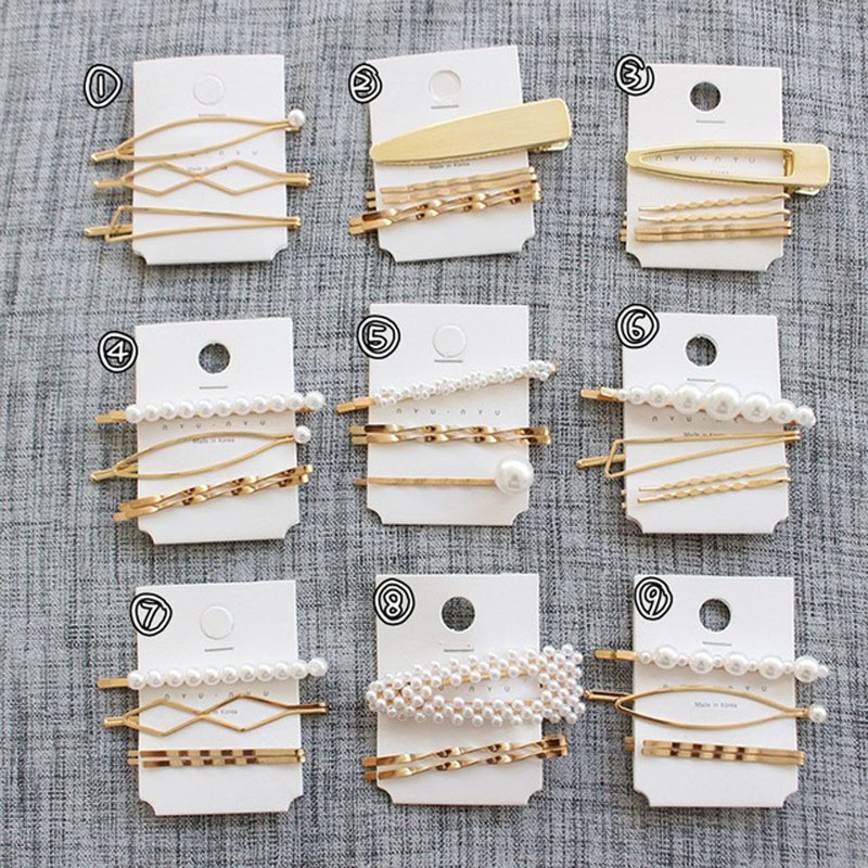 F091 3Pcs Set Pearl Metal Hair Clip Hairband Comb Bobby Pin Barrette Hairpin Headdress Wedding Hair Accessories Women Hair Pins in Hair Jewelry from Jewelry Accessories