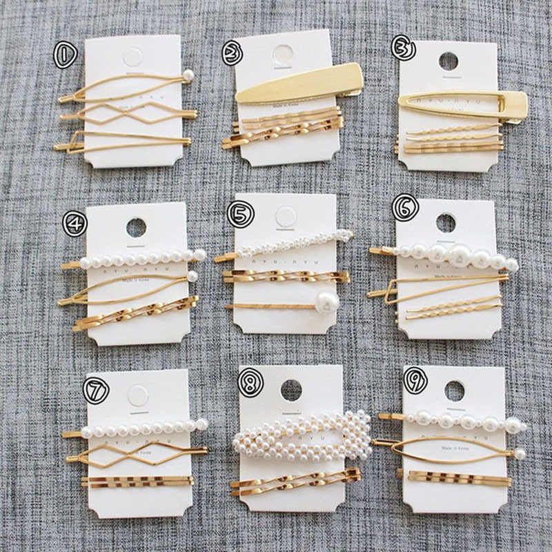 F091 3Pcs/Set Pearl Metal Hair Clip Hairband Comb Bobby Pin Barrette Hairpin Headdress Wedding Hair Accessories Women Hair Pins