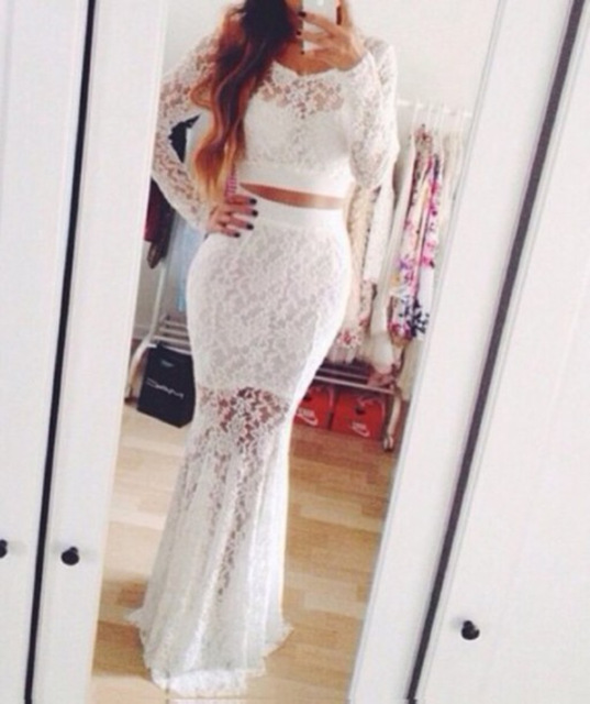 7f8828bbe96 2016 Illusion Sexy White Two Piece Lace Evening Dress Long Sleeve Glamorous  V Neck Prom Party