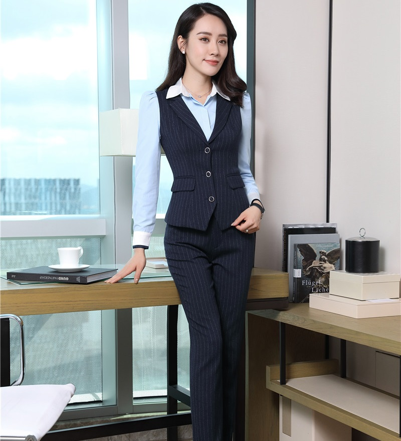 Formal Women Business Suits With Pant And Vest Waistcoat Top Sets Blue Striped Ladies Office ...