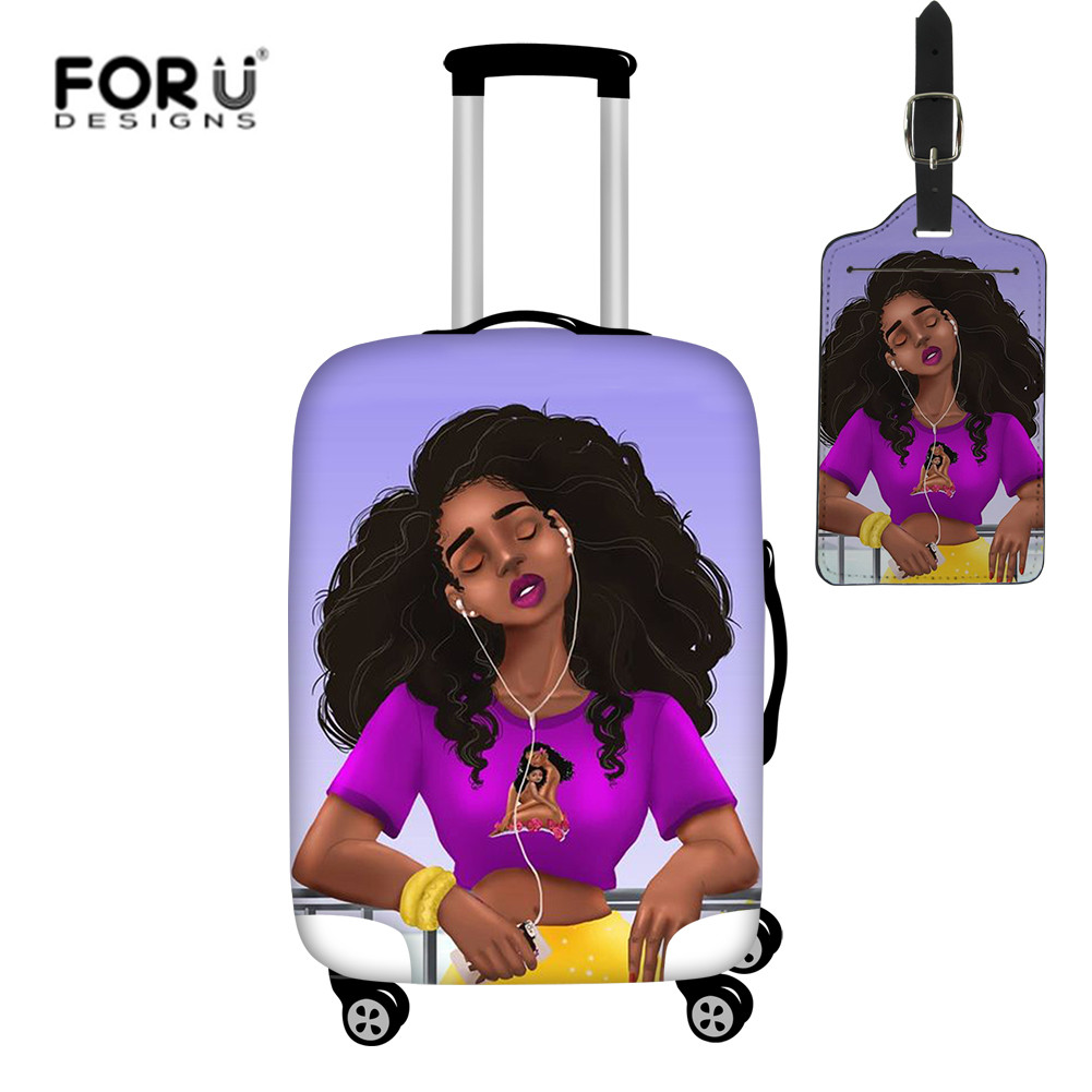 FORUDESIGNS Fashion Luggage Cover African Black Girls Print Suitcase Covers 2pcs/set Elastic Baggage Cover Travel Accessories