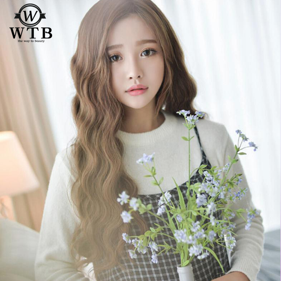 WTB Long Wavy hair Wig Brown Wig Made Wigs for Women 24Inch Heat Resistant Synthetic Fiber Female Wigs