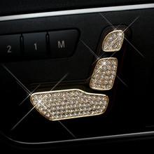 6pcs set 3 colors decorative sequins car seat adjustment Button Diamond Covers  for Mercedes for 203d50039b4a