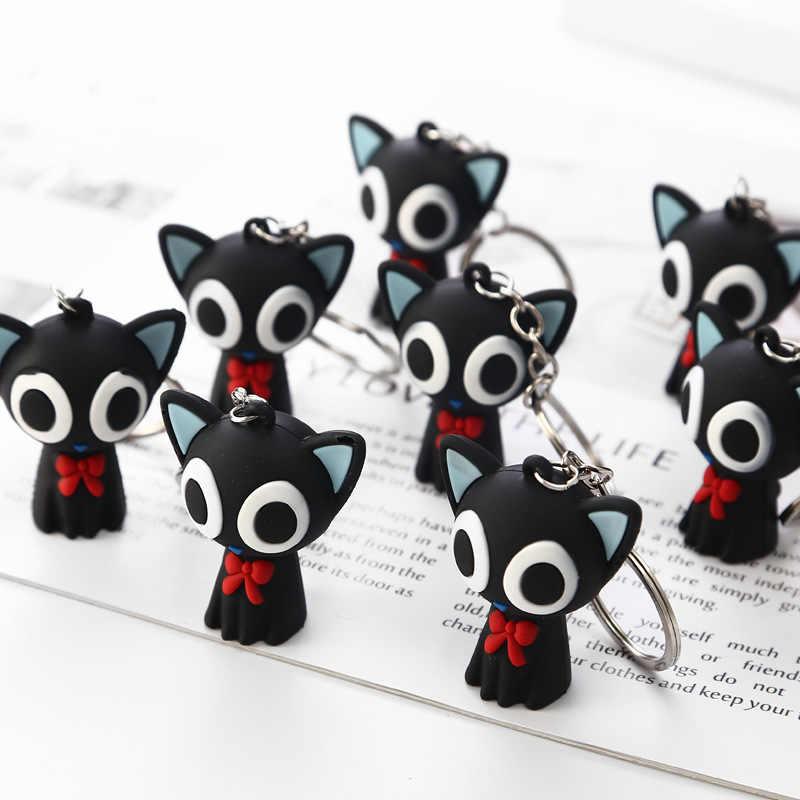 Moda Bonecas Bonitos Dos Desenhos Animados Pequeno Gato Preto Chaveiro Porte Clef Mulheres Casal Chaveiro Chaveiro Bugiganga Carro Crianças Brinquedo Chave anel