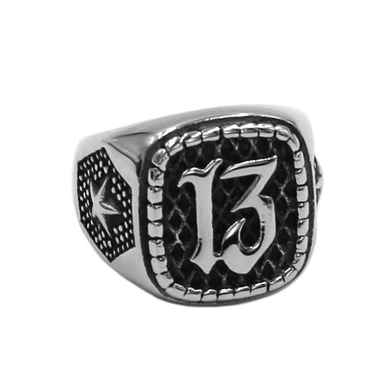 Atacado lucky 13 anel 316l aço inoxidável jóias moda estrela motor biker masculino meninos anel 926b