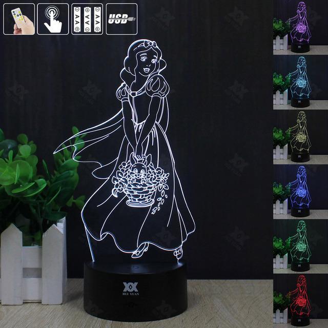 HUI YUAN Branca de Neve 3D Humor Lâmpada Night Light RGB Mutável LED decorativo candeeiro de mesa de luz dc 5 v usb obter um free controle remoto