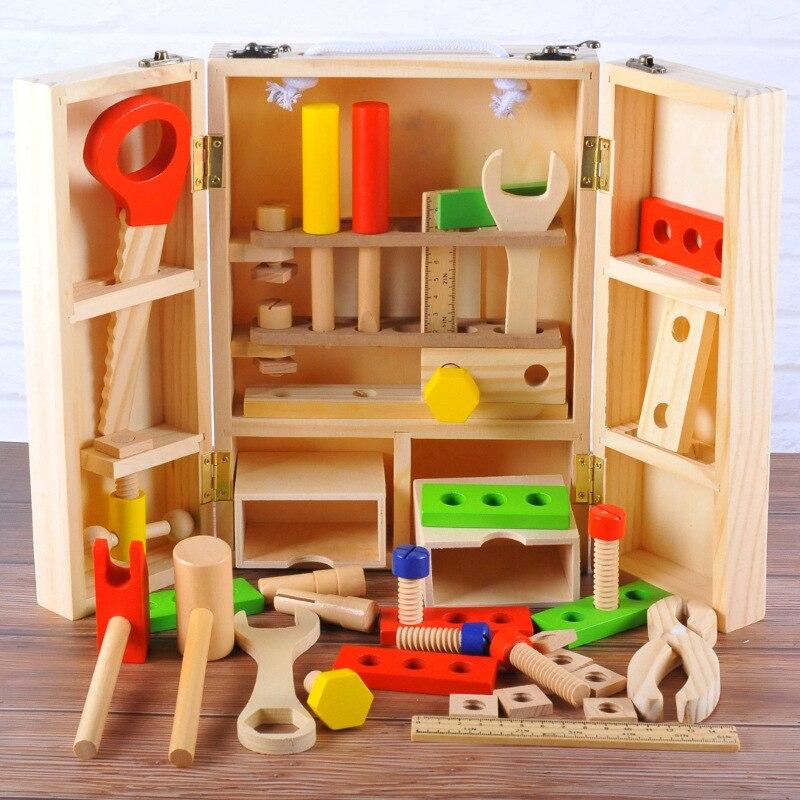 Simulation en bois bricolage Portable boîte à outils garçon en bois Kit de réparation enfants éducation précoce semblant jouer outil jouets