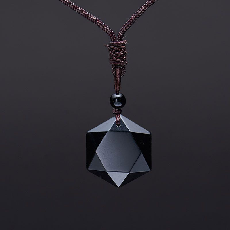 Wholesale Genuine Natural Obsidian Stone Pendants Six Stars Pendant Energy Necklace Sweater Chain Fashion Jewelry