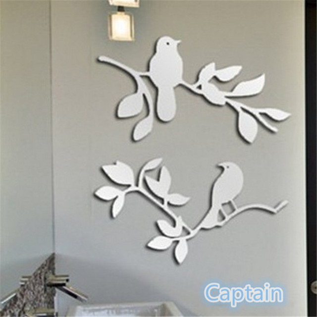 Birds Tree Acrylic Plastic Mirror Wall Art ROOM Decal Decor Sticker ...