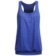 e39acc229a2fc Top Summer Women Sleeveless Round Neck Wrinkled Loose Racerback Workout  Tank Top Camisole Tops Cortos Verano