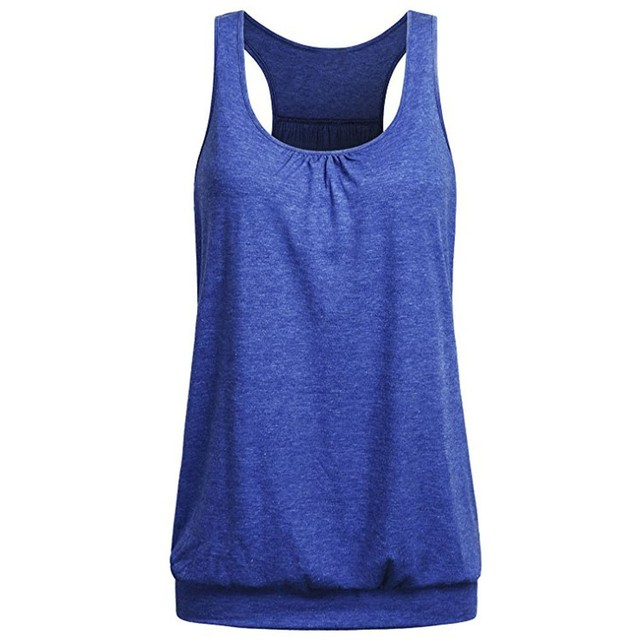 Top Summer Women Sleeveless Round Neck Wrinkled Loose Racerback Workout Tank Top Camisole Tops Cortos Verano Mujer#lSJ